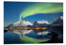 Tableau en PVC  Northern lights (aurora borealis) and stars light up the snowy peaks reflected in the cold sea, Berg - Roberto Sysa Moiola