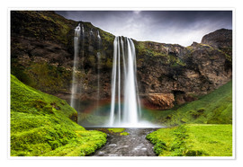 Poster Seljalandsfoss waterfall, South Region, Iceland, Polar Regions