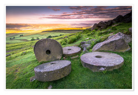 Poster  Stanage Edge millstones at sunrise, Peak District National Park, Derbyshire, England, United Kingdom - Andrew Sproule