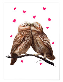 Poster Chouettes amoureuses