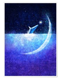 Poster Blue whale and crescent