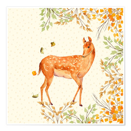 Poster Magical Deer in Forest
