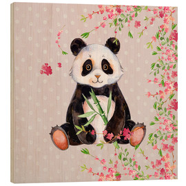 Tableau en bois  Little panda bear with bamboo and cherry blossoms - UtArt