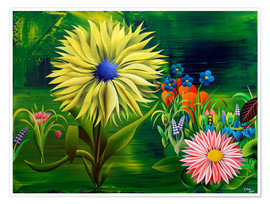 Poster Flowers, abstract