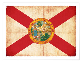 Poster  Vintage Flag of Florida in grunge style - Christian Müringer