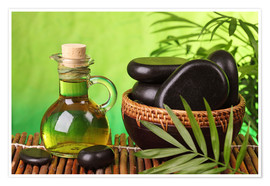 Poster  Spa still life with hot stones and essential oil - Elena Schweitzer
