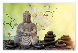 Poster Buddha in meditation, religious concept