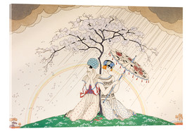 Tableau en verre acrylique  Two women sheltering from the rain, under a tree - Georges Barbier