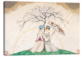 Tableau sur toile  Two women sheltering from the rain, under a tree - Georges Barbier