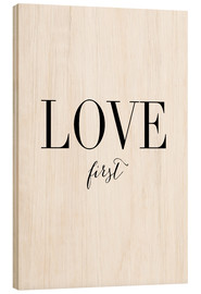 Tableau en bois  Love first - Amy and Kurt