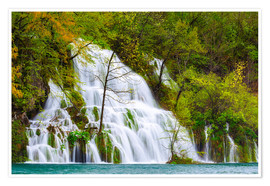 Poster Spring at the waterfalls of Plitvice