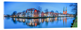 Tableau en verre acrylique  Panoramic of Lubeck reflected in river Trave, Germany - Roberto Sysa Moiola