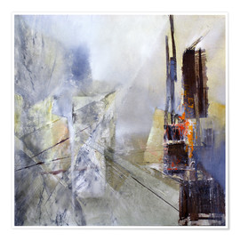 Poster  Abstract composition in white - Annette Schmucker