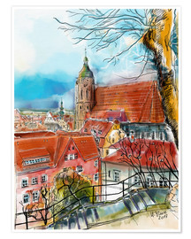Poster Pirna, View to the Church of St. Mary