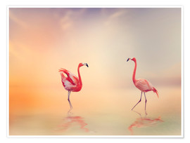 Poster  Two Flamingoes in The Lake at Sunset