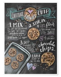 Poster  Recette des Chocolate chip cookies (anglais) - Lily & Val