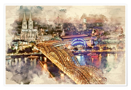 Poster Cologne Skyline Cologne Cathedral