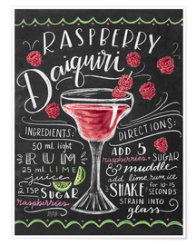 Poster  Recette du daiquiri framboise (anglais) - Lily & Val