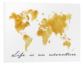 Tableau en PVC  Mappemonde, Life is an adventure - Nadine Conrad