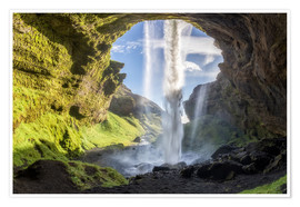 Poster Kvernufoss waterfall in south of Iceland