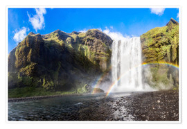 Poster Skogafoss waterfall in south of Iceland