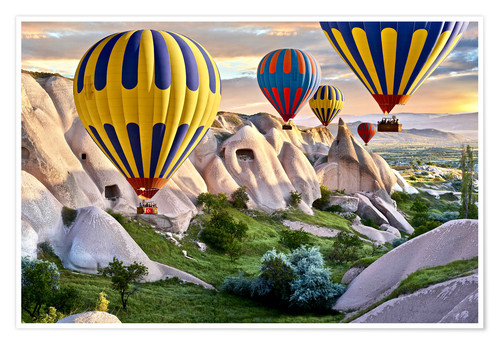 Poster Hot air balloons over Goreme tuff rock formations