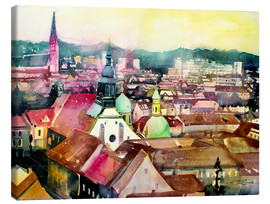 Tableau sur toile  Graz, view to the cathedral - Johann Pickl