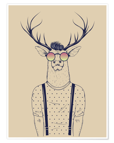 Poster Cerf hipster