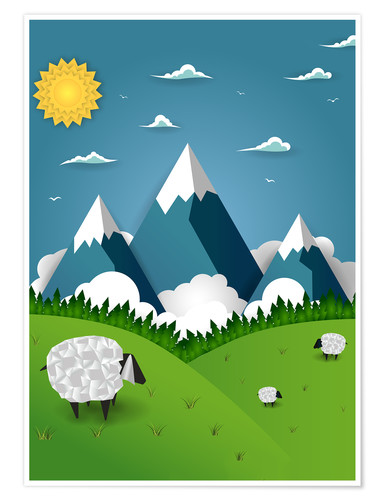 Poster Paper landscape with sheep