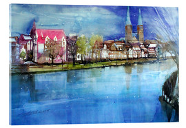 Tableau en verre acrylique  Lübeck, painter angle with cathedral - Johann Pickl