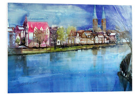 Tableau en PVC  Lübeck, painter angle with cathedral - Johann Pickl
