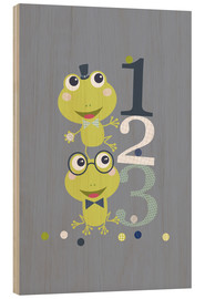Tableau en bois  Frogs playing with numbers - Jaysanstudio