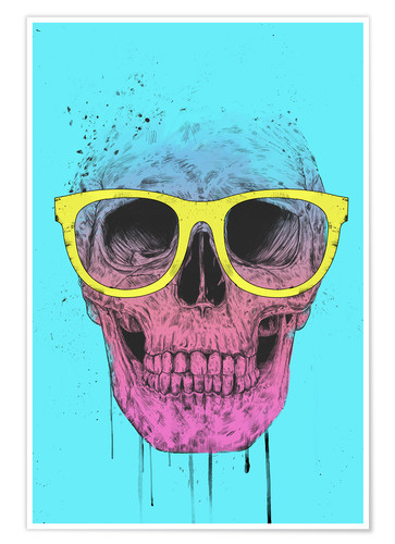 Poster Pop art skull with glasses