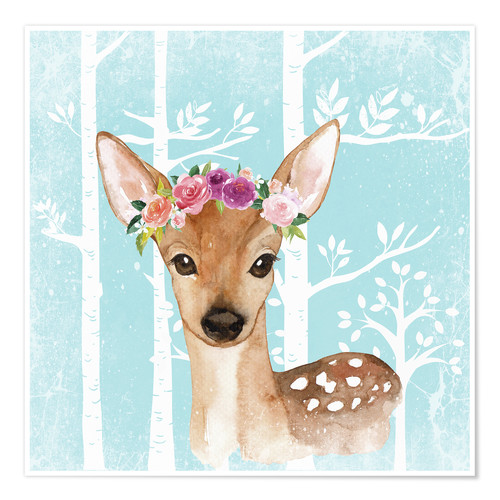 Poster Glamorous fawn with blossoms in the blue forest