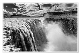 Poster Dettifoss on Iceland (monochrome)