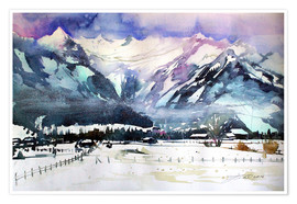 Poster Zell am See, view to the Kitzsteinhorn
