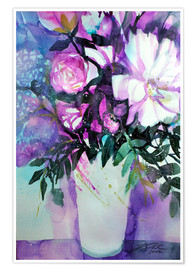 Poster White peonies with lilac