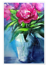 Poster Red peonies in vase