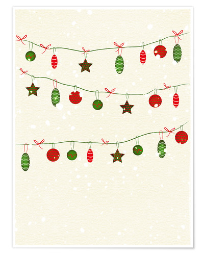 Poster happy holidays baubles