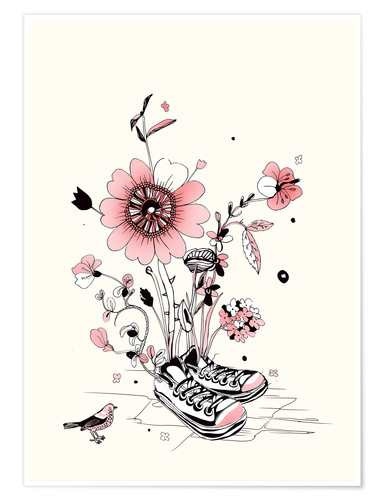Poster Chaussures fleuries