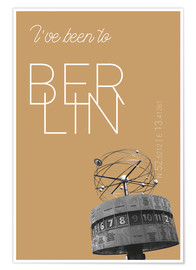 Poster Popart Berlin World Clock I have been to Color: Pale gold