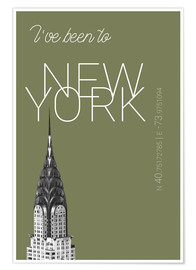 Poster Popart New York Chrysler Building I have been to Color: calliste green