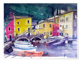Poster Lake Garda, harbor in Cassone