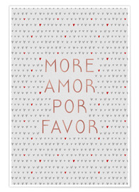 Poster  More amor por favor, rose doré - Orara Studio
