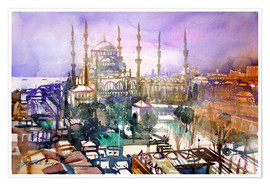 Poster Istanbul, view to the blue mosque