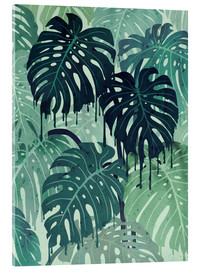 Tableau en verre acrylique  Monstera Melt (in Green) - littleclyde