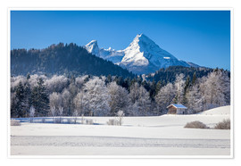 Poster Snowy mountains in Upper Bavaria