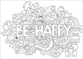 Poster à colorier  Be happy