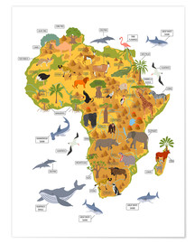 Poster  Les animaux africains (anglais) - Kidz Collection