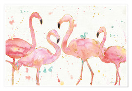 Poster  Flamants roses I - Anne Tavoletti